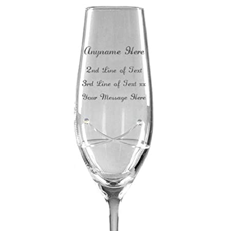 2e438b611cf Personalised Engraved Glass - A Swarovski Crystal Champagne Flute Glass  with Kiss Cut Design featuring 2