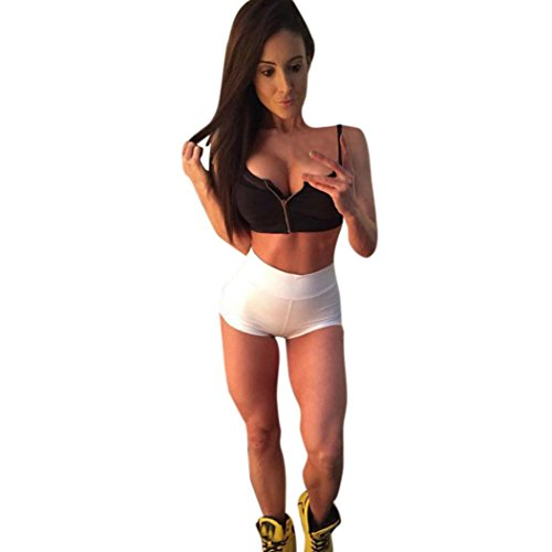 Women Short Yoga Pants Daoroka Waist Band Contrast Fold Over Flex Gym Workout Athletic Sport Performance Running Exercise Short Pants Trouser (S, White)
