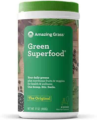 Amazing Grass Green Superfood Organic Powder with Wheat Grass and Greens, Flavor: Original, 60 Servings