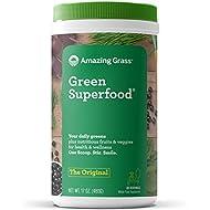 Amazing Grass Green Superfood: Super Greens Powder with Spirulina, Chlorella, Digestive Enzymes & Probiotics, Original, 60 Servings
