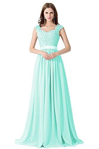 Perlenstickerei Grün Abendkleid Ausschnitt 2017 Cocktailkleid Damen Mint MisShow® Bodenlange Maxi V gwZH5HPq4