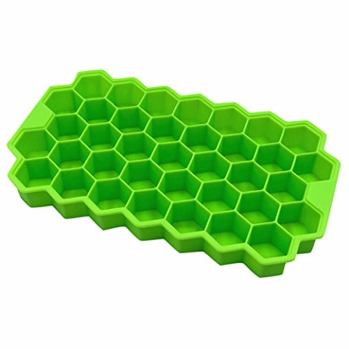 Litetao Honeycomb Shape Easy-Release Silicone and Flexible Ice Cube 37 Cubes Ice Tray Ice Cube Mold Storage Containers, Stackable Durable and Dishwasher Safe (Green) -