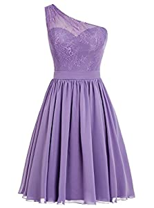 Vweil One-Shoulder Sheer Lace Chiffon Bridesmaid Dress Short Homecoming Prom Gowns for Juniors
