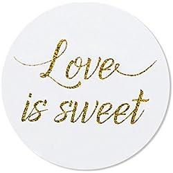 "80 – 2"" Love is Sweet Stickers, Wedding Favor Labels, Wedding Treat Stickers"