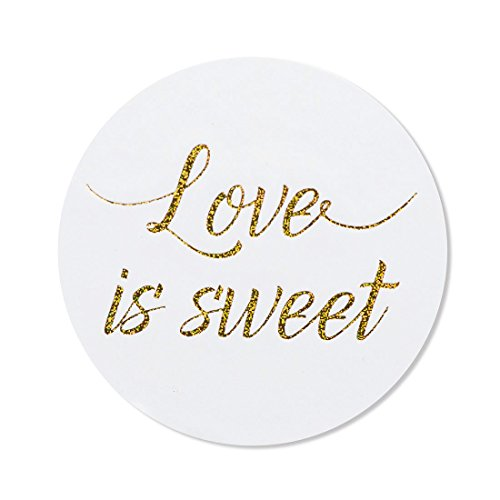 "80 – 2"" love is sweet stickers, wedding favor labels, wedding treat stickers"