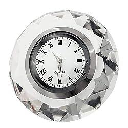 ROUND DIAMOND CUT CRYSTAL MINIATURE DESK CLOCKS MINI CLOCK VALENTINES GIFT IDEA