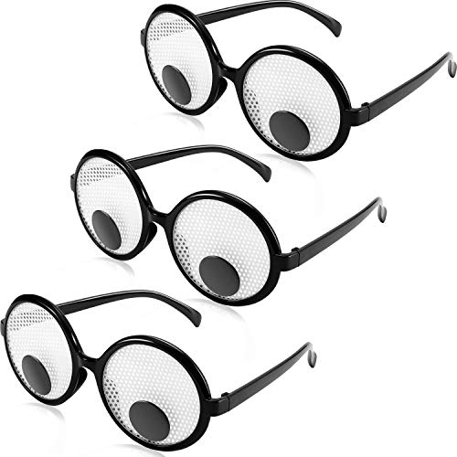 3 Pieces Funny Googly Eyes Glasses Round Shaking Eyes Glasses Joke Party Accessories for Kids and Adults -