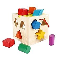 SainSmart Jr. Sparkle CB-26 Wooden Shape Sorting Box, 13 Hole Wooden Blocks, for Shape Color Recognition