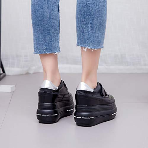 black Profundidad Invisibles Cuero Poca 37 Mujer Bajos Yan De Negro Zapatos Para Plataforma Caminar Aumento Casuales zn6B7q