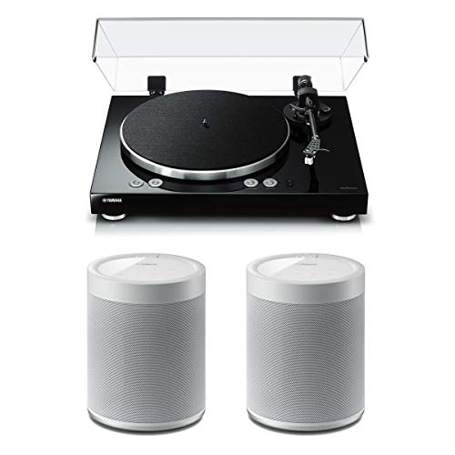 Yamaha MusicCast Vinyl 500 Turntable with MusicCast 20 Wireless Speakers - Pair (White)