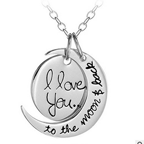 """""""I Love You To The Moon and Back"""" Two Piece Pendant Necklace,23""""(silver) ,Thanksgiving gifts christmas gifts for mother mum"""