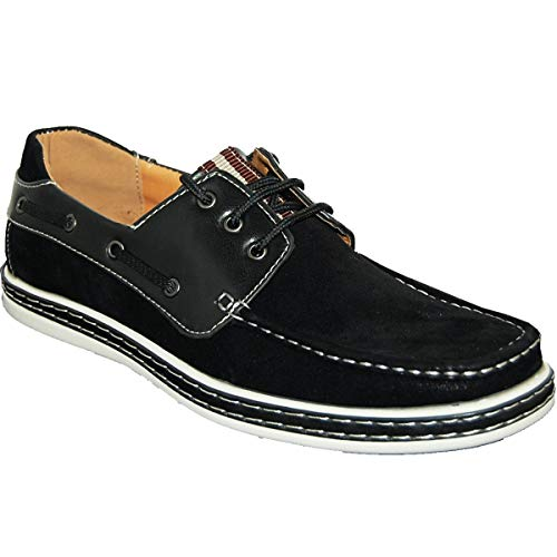 Krazy Boat Shoes   Sedaghatti   Men's Black Suede Look   Leather Synthetic Uppers.