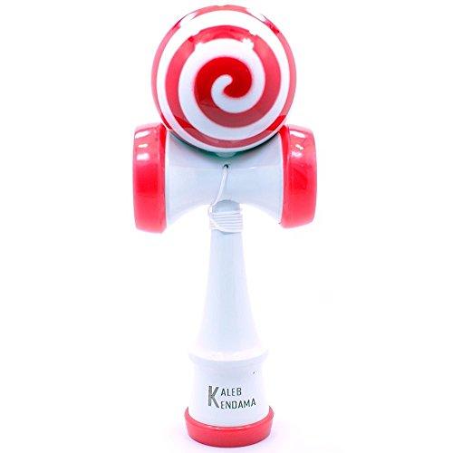 Red & White Swirl Lollipop Kendama Kaleb USA
