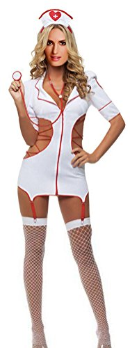 QinMi Lover Sexy Women's Cut-Out Nurse Costume Dress