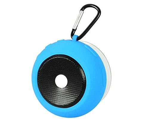 Ascar Waterproof Bluetooth Wireless Speaker | Portable Water Resistant Shower Speakerphone With Built-In Hook, Powerful Suction & Magnet | Ultimate Rechargeable Audio Soundbot (Blue)