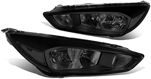 DNA Motoring HL-OH-FF16-BK-SM-CL1 Pair of Headlight For 15-18 Ford Focus