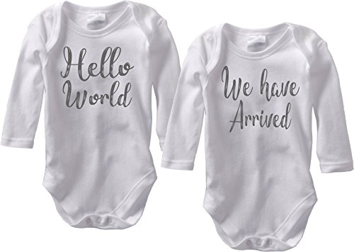 Hello World We Have Arrived - Twin Birth Reveal Outfit (Newborn Long Sleeve Set, Dark Grey Font)