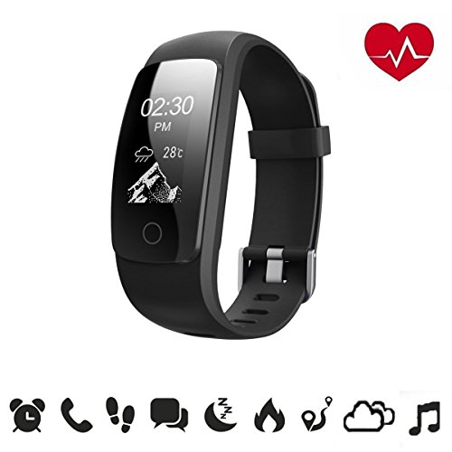 Fitness Tracker - JELEGANT ID107 Plus HR Smart Bracelet Activity Tracker Heart Rate Monitor Fitness Health Wristband Bluetooth Pedometer Calorie Counter for Android iOS smartphones(Upgrade section)