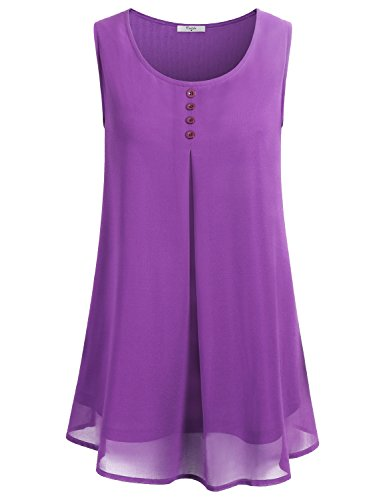 Cestyle Shirts Sleeveless Women, Woman Sleevelss Flowy Cool Soft Crepe Button Crew Neck Pleated Drape Chiffon Blouse Tank Top Purple 2XL