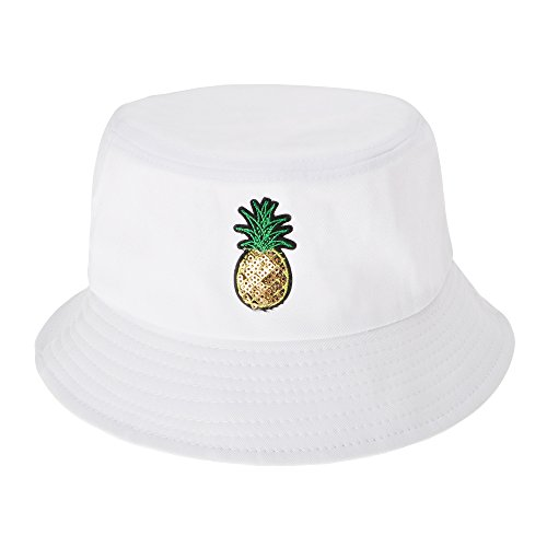 ZLYC Unisex Fashion Embroidered Bucket Hat Summer Fisherman Cap for Men Women Teens (Pineapple - Golf Backpack Embroidered
