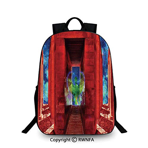 - Notebook computer schoolbag,Phoenix Greek Myth Creature Reborn Bird in Building with Stairs Digital Image Backpack Cool Children Bookbag, Orange Blue