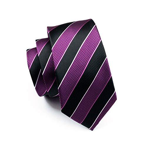 Silk Gravata 644 100 Woven Formal Men Jacquard Ld For Business LLZGPZLD Tie Black Wedding Purple Necktie amp; Striped Tie qtgAUwS