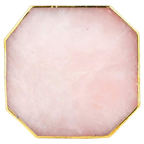 rockcloud 1 PC Gold Plated Edge Rose Quartz Crystal Stones,Coasters Cup Mat, Home Decoration Healing Crystals Collection, Octagon -