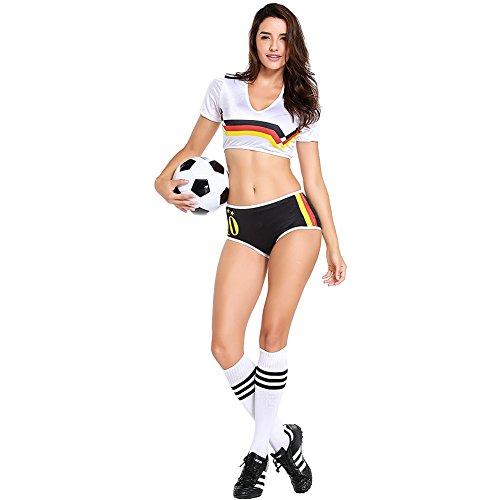c24ec2a59 Football Cheerleading Uniform for Women Sexy Adult Soccer Baby Outfit  Cheerleader Costume Short Sleeve Shirt