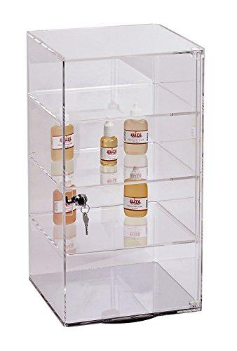 SSWBasics 3-Shelf Acrylic Rotating Tower Display Case Box (Comes with Lock & Key)