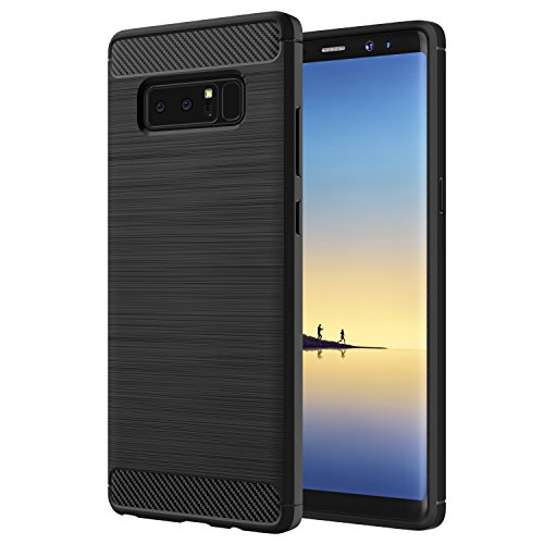 Samsung Galaxy Note 8 Case, MoKo Flexible TPU Bumper Slim Fit Case Carbon Fiber Design Lightweight Shockproof Back Cover for Samsung Galaxy Note 8 (2017), BLACK