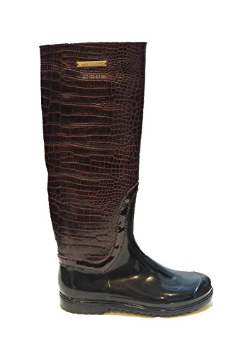 Dolce & Gabbana Italy Woman's Burgundy Crocodile Leather Rubber Narrow Rainboots Boots 7 6 ()