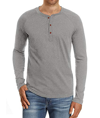 (Mr.Zhang Men's Casual Slim Fit Long Sleeve Henley T-Shirts Cotton Shirts Light Gray-US XL)