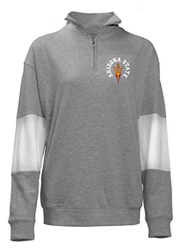 NCAA Arizona State Sun Devils Quarter Zip French Terry Sweatshirt, Gray, - Quarter Clothing French