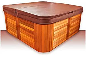 "Replacement Hot Tub Covers Standard Cover - 84"" x 84"" x 6""R, 4"" Skirt (Chestnut)"