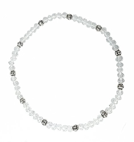 - Stretch Bead Ankle Bracelet Anklet - Clear White (A27)