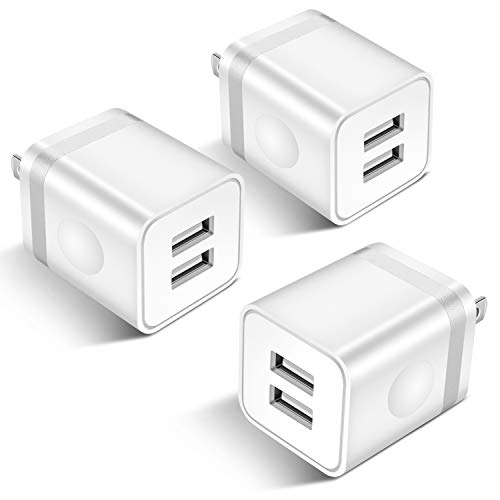 (STELECH USB Wall Charger, 3-Pack 2.1A Dual Port USB Plug Power Adapter Charging Block Cube Compatible with Phone Xs Max/Xs/XR/X/8/7/6S/6 Plus/SE, Samsung, LG, Tablets, Android Phone)