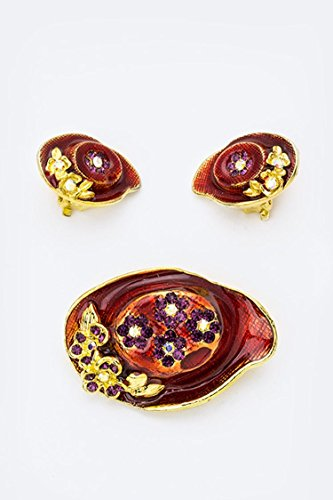 Trendy Fashion Jewelry Crystal Hat Brooch & Earrings Set By Fashion Destination