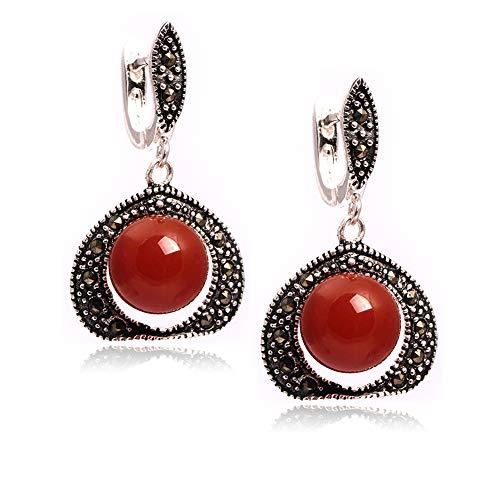 GEM-inside Earrings Red Jade Gemstone Beads Round Tibetan Silver Dangle Stud Hoop Fashion Jewelry for Woman ()