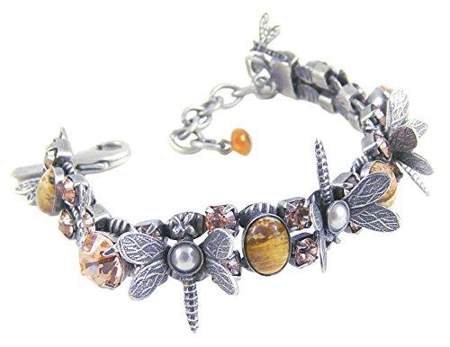 Mary Demarco Pewter, Desert Jasper and Swarovski Crystal Adjustable Dragonfly Bracelet ()