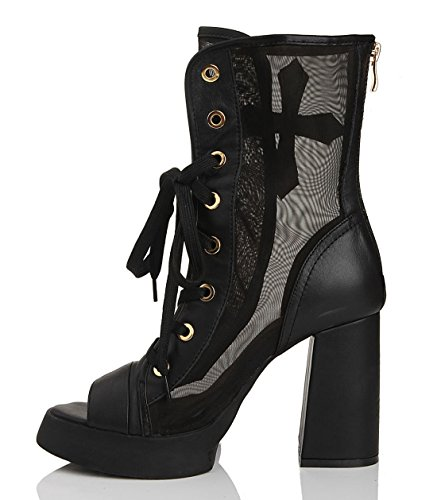 Leather Chunky Heel Gladiator TDA Comfort Dress Black Mesh Boots Women's Platform Zipper q40AE