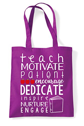 Tote Dedicate Shopper Inspire Bag Motivate Teachers Magenta Nuture PI688q