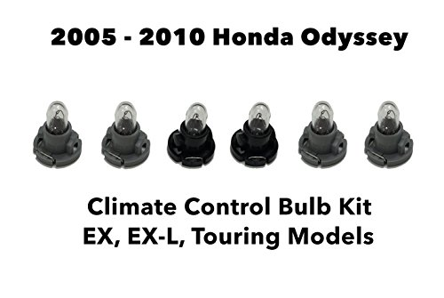 Oem Dash Kits (Genuine OEM Honda Odyssey (Set of 6 Bulbs) Heater A/C Climate Control Light Bulb Kit (EX, EX-L, Touring) 2005-2010)