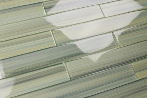 Light Green Blue Gray Glass Tile Wintermoss Subway Glass Tile for Kitchen Backsplash or Bathroom., Color Sample