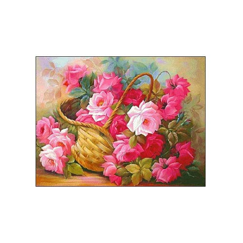 Roses Basket DIY 5D Diamond Painting by Number Kit Crystal Rhinestone Embroidery Cross Stitch Home Wall Decor Arts Craft Canvas 25cm x 20cm