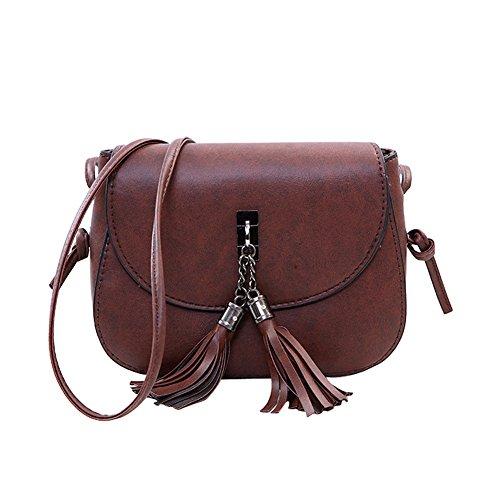Minetom Women Fashion Handbags Cross Body Bag Women Candy Color Tassel Messenger Bags Small Chains Bag Female Handbag Shoulder Bag A Dark Brown