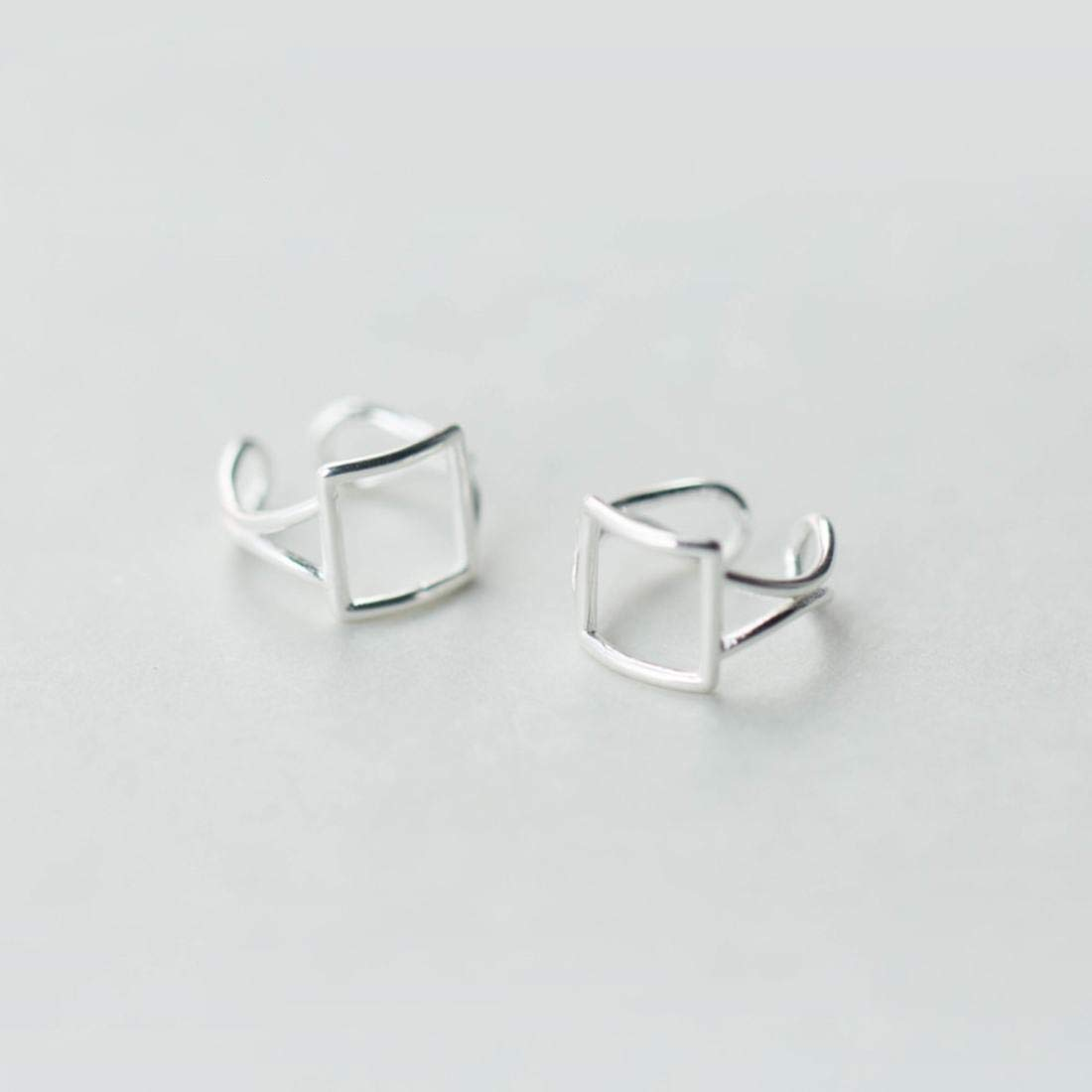 Color : Sliver BAOYIT Simple Square 925 Silver Stud Earrings