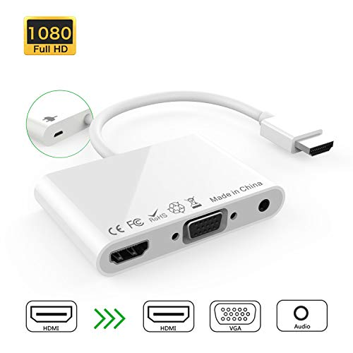 If-Link HDMI to HDMI VGA Audio Converter Adapter Cable, 3 in 1 1080P HDMI/VGA/Audio Multiple Digital Adapter with Micro USB & 3.5mm Audio Port Compatible with Mac Mini, Apple TV, Laptop, DVD - White