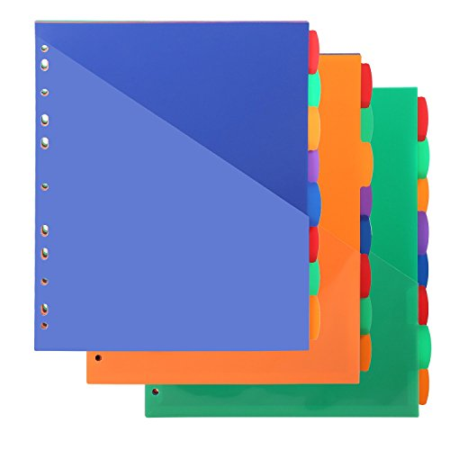 Insertable Plastic Dividers,Binders Dividers with Two Pockets & tabs,8-Tab Set, Multi-Color,Pack of 3 ()