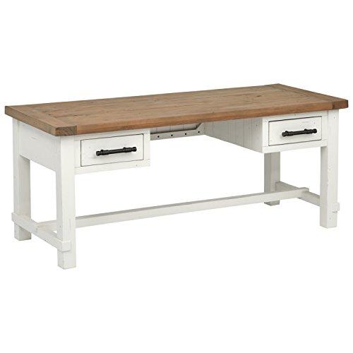 Stone Beam Barrett Reclaimed Wood 2-Tone Desk, 71 W, White, Sandstone