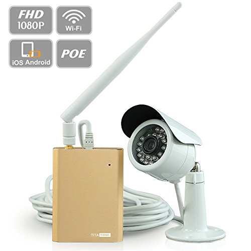 Titathink TT527PW Outdoor Wireless/POE Security Camera System, 1080P FULL HD Weatherpoor WiFi IP Camera with night vision, SD recording–PC MAC iOS and Android App Available